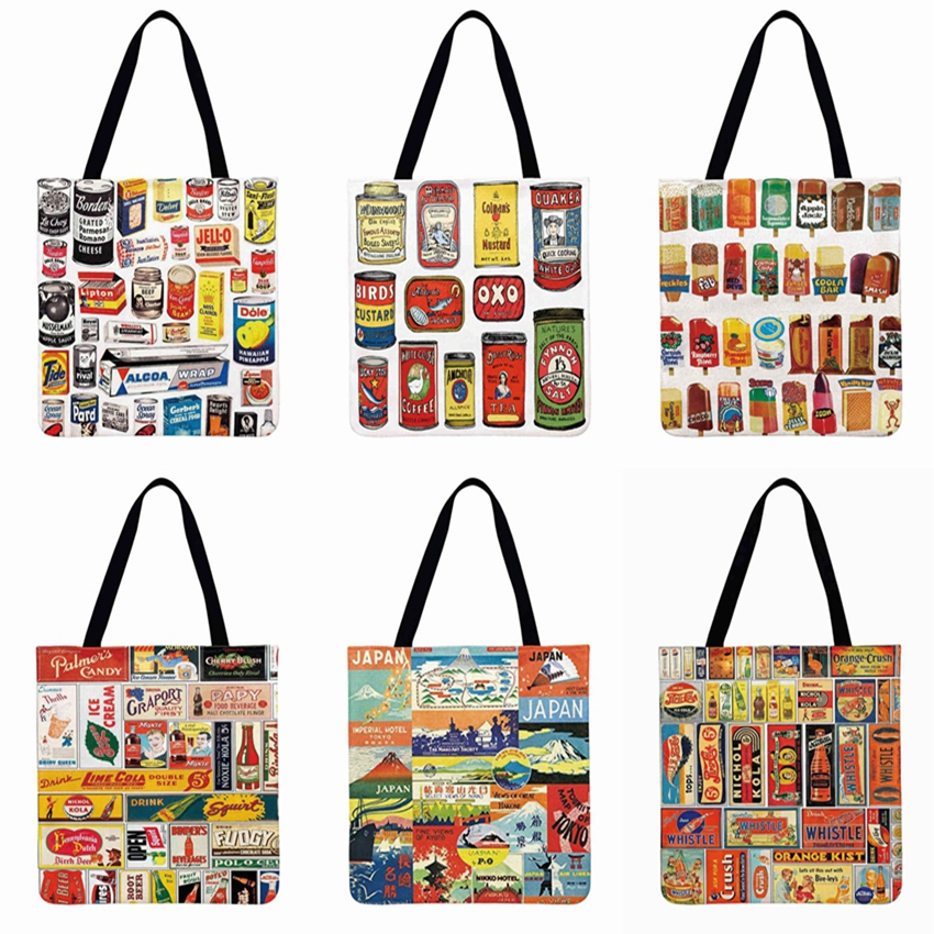 Advertising Illustration Printing Tote Bag Linen Febric Casual Tote Women Shoulder Bag Foldable Shopping Bag Reusable Beach Bag