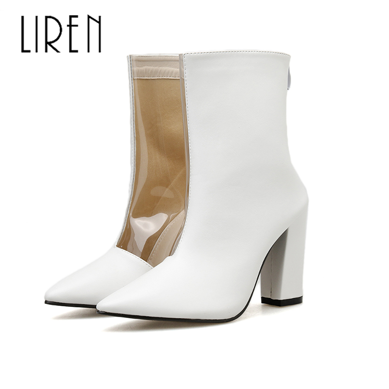 Liren 2019 New PU Lady Boots Winter Women Fashion Casual Sexy Ankle Zip Pointed Toe Transparent