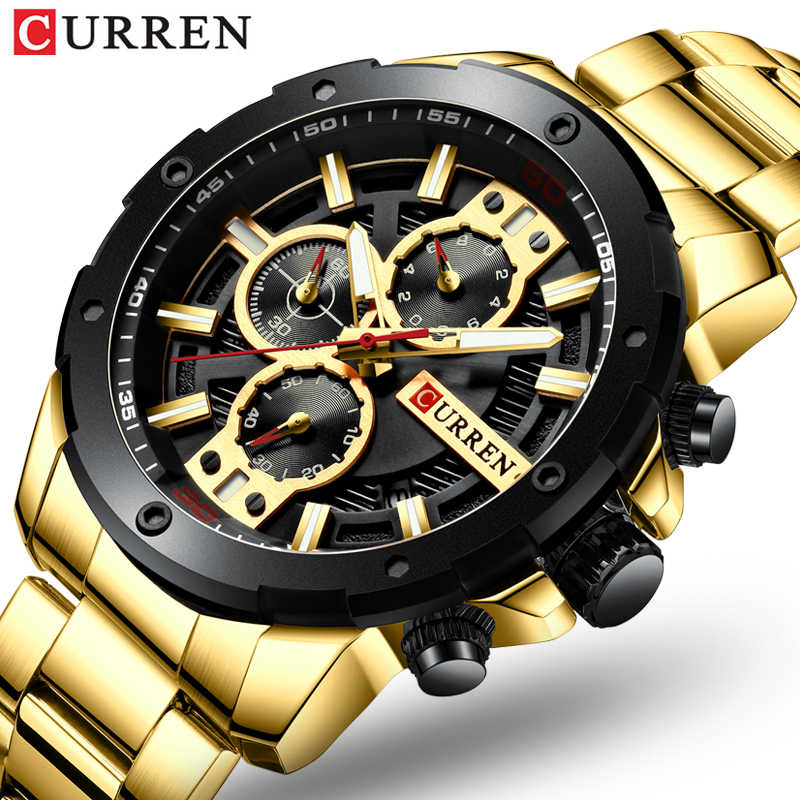 CURREN 8336 Jam Tangan Pria Gold Stainless Steel Band QUARTZ Jam Tangan Military Chronograph Jam Pria Sporty Watch Tahan Air