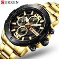 Часы CURREN 8336 мужские  золотые  из нержавеющей стали  кварцевые наручные часы  военный хронограф  мужские спортивные часы  водонепроницаемые