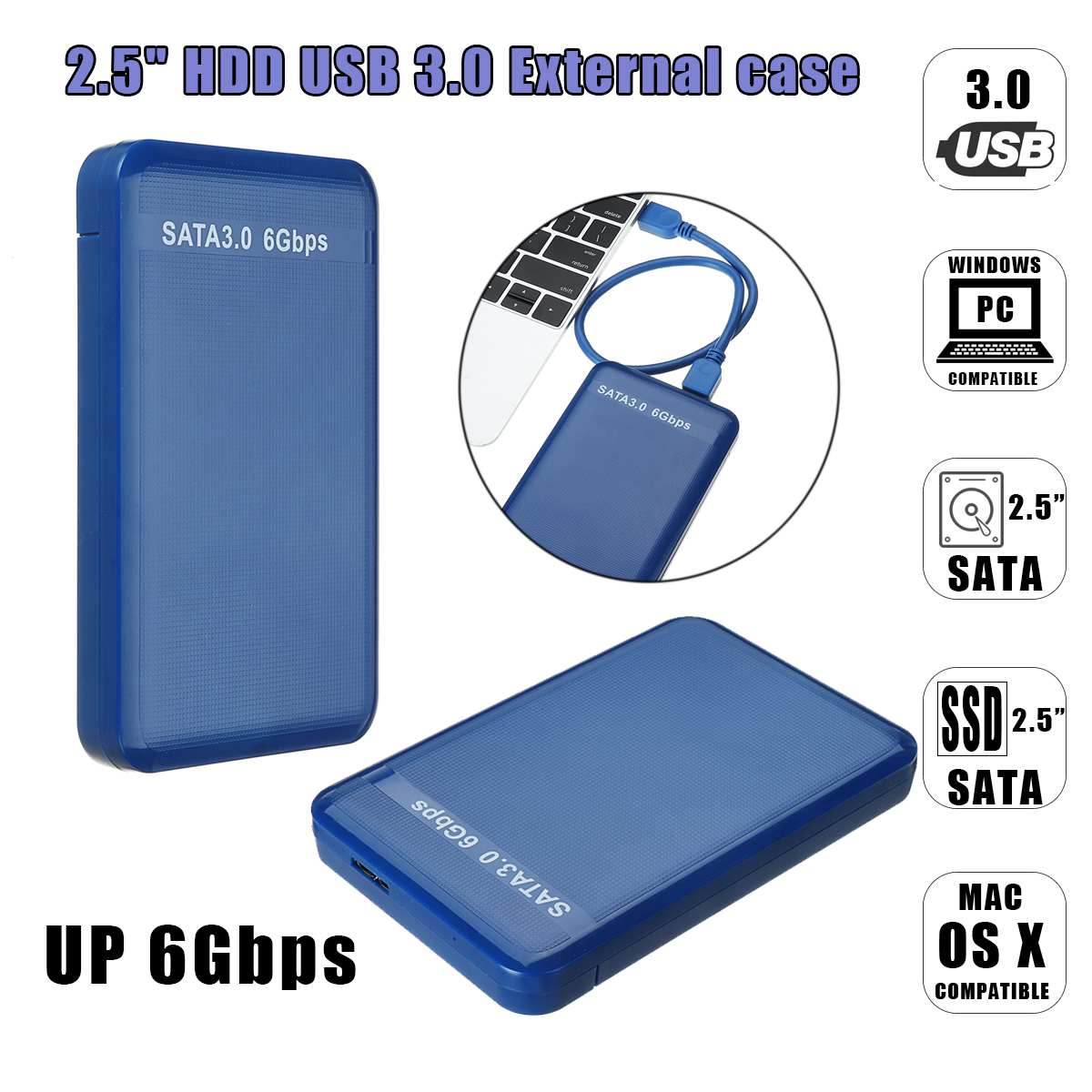 HDD Enclosure 6Gbps USB 3.0 2.5 Inch SATA External Hard Dish Drive Case Cover Cable Up 6Gbps