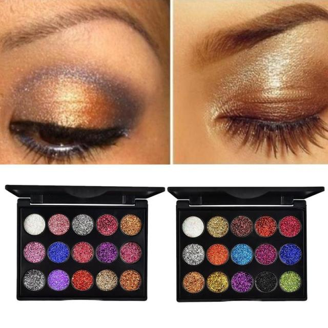 15 Colors Glitter Eyeshadow Makeup Pallete Matte Eye Shadow Palette Shine Diamond Eyeshadow Powder Pigment Kit 2