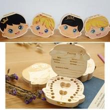 Dziecko drewniane pudełko na zęby Organizer zęby mleczne język przechowywania hiszpania angielski zbieraj zęby rigica zapisz prezenty pudełko na zęby mleczne