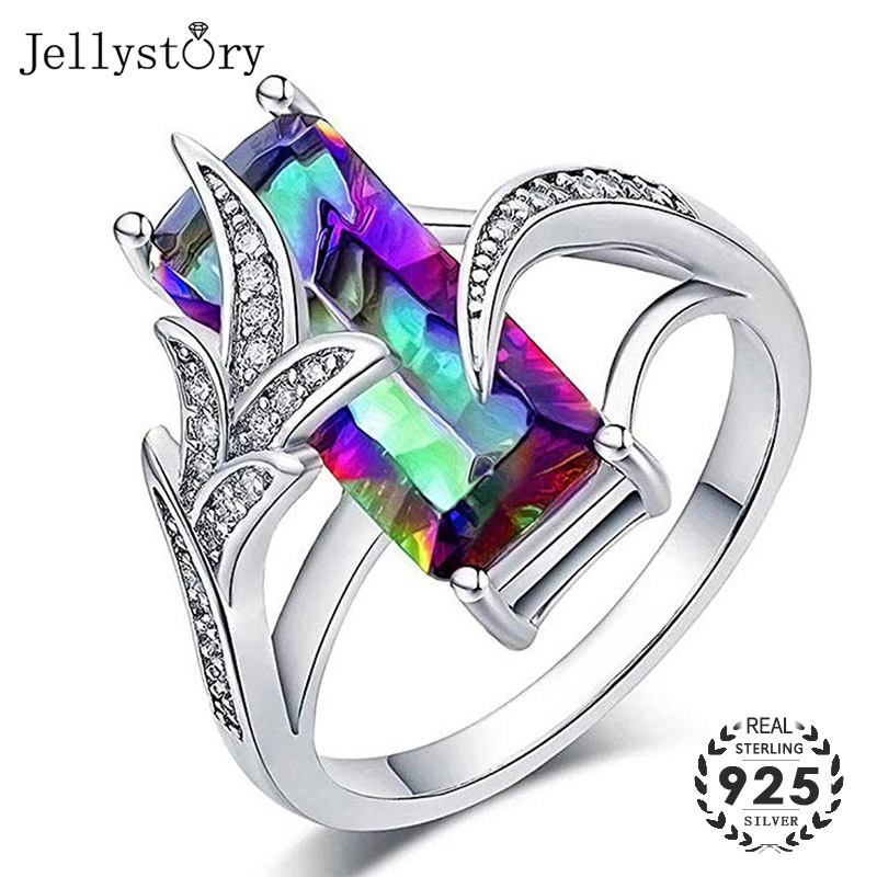 Jellystory Trendy Silver 925 Jewelry Rings With Rectangle Shape Green Topaz Gemstone Ring For Women Wedding Party Gift Size 6-10