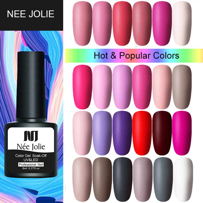 NEE JOLIE 8ml Solid-color Nail Gel Polish 20 Pink  Colors LED Lamp Gel Soak Off UV Gel Varnish One-shot Color Nail Art Gel