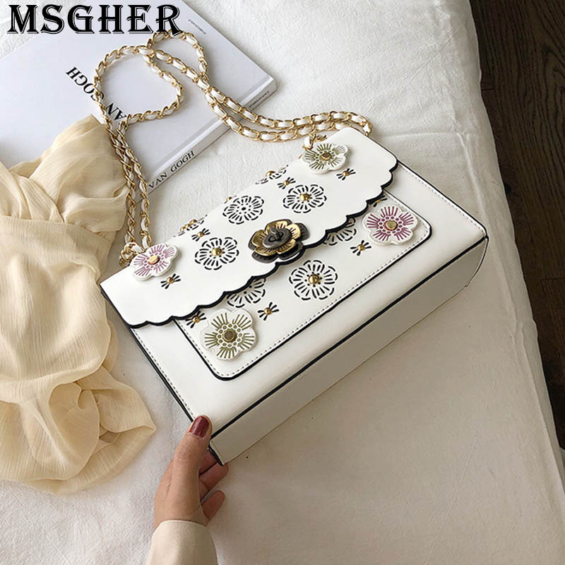MSGHER Embroidery Flowers Women Shoulder Flap Bag Hollow Out Bohemian Fashion Girl Metal Flowers Designed Hasp Girl Bag WB3317
