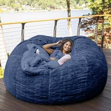 7 stóp krzesło worek fasoli z Furry futro pokrywa można prać w pralce, duży rozmiar Sofa i gigantyczne krzesło meble