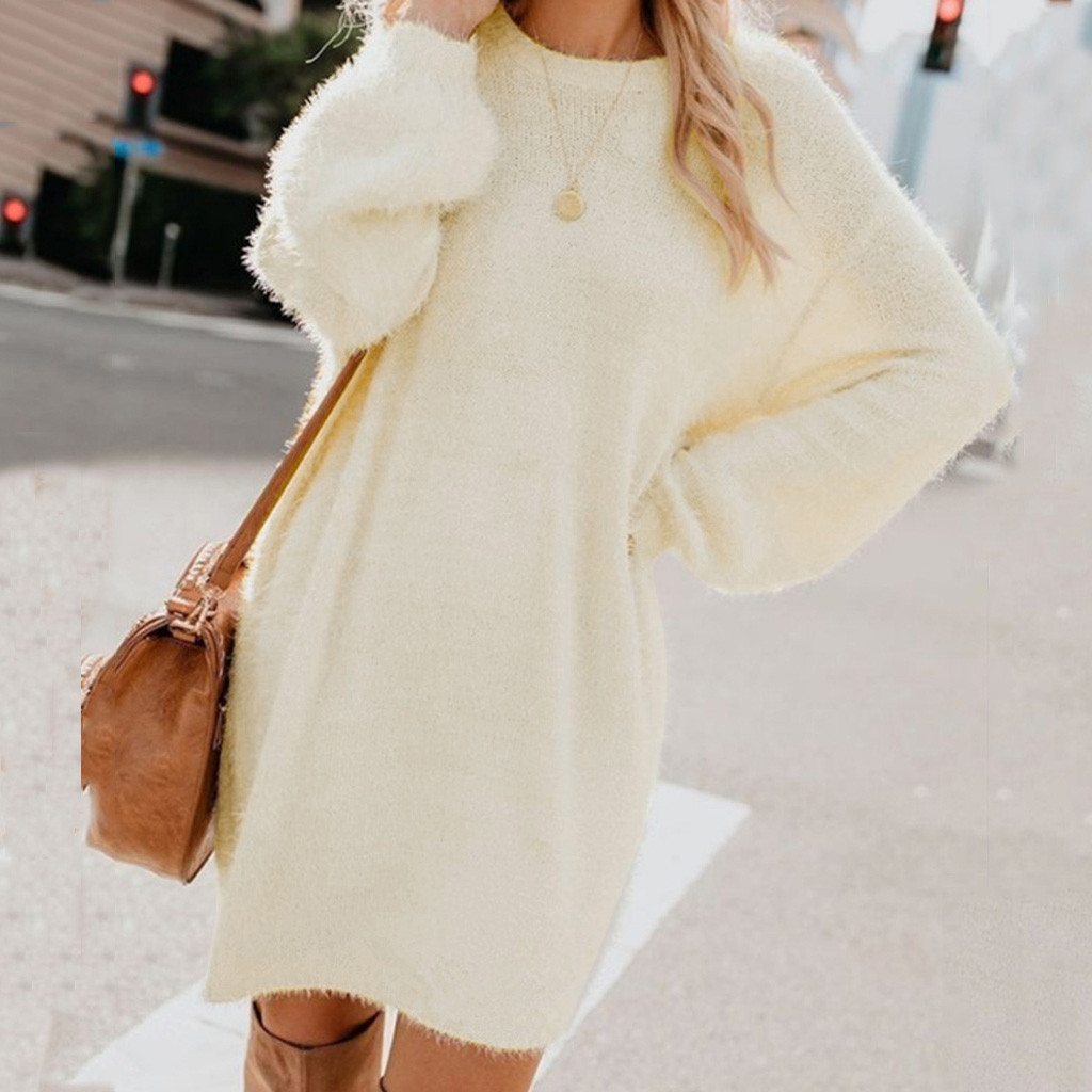 Turtleneck Long Sleeve Sweater Dress Women Autumn Winter Loose Tunic Knitted Casual Pink Gray Clothes Solid Dresses