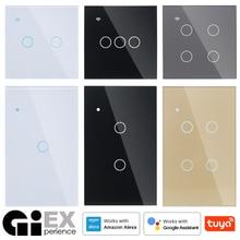 Bez neutralnego WIFI dotykowy przełącznik do montażu ściennego biały szklany niebieski LED TUYA inteligentny telefon domowy 2Way/3Way dla Alexa Google Home Alice