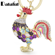 Dalaful Pretty Chic Opals Cock Rooster Chicken Keychains Crystal Bag Pendant Key ring Key chains Gift