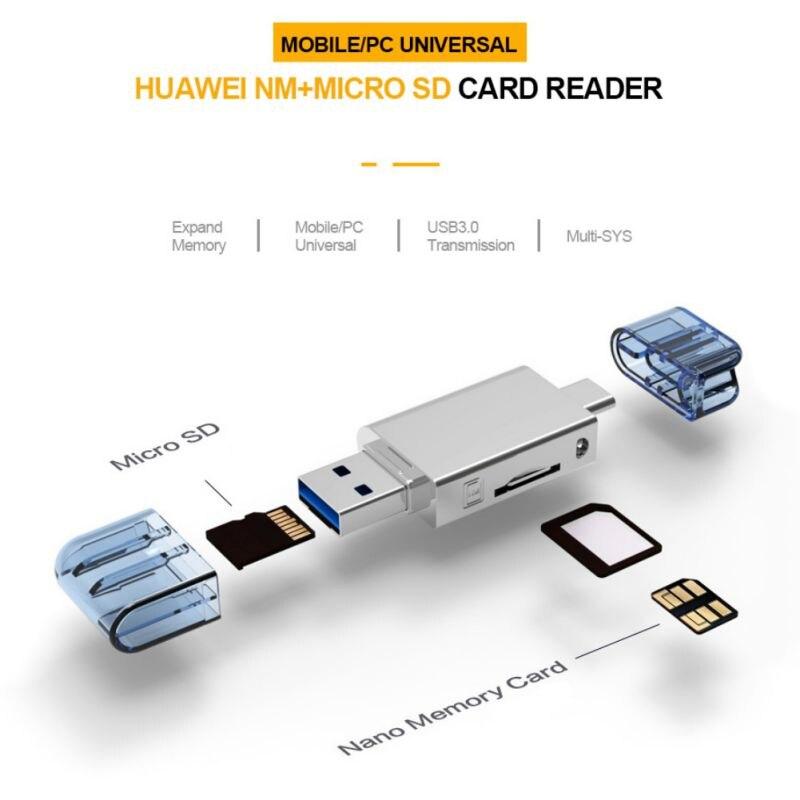 KNY2 in 1 кард ридер адаптер type C/USB 2,0 NM Nano TF безопасные цифровые карты памяти аксессуары для huawei мобильного телефона ноутбука