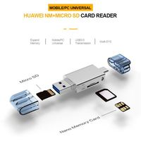 KNY2 in 1 Card Reader Adapter Type C / USB 2.0 To NM Nano TF Secure Digital Memory Cards Accessories For Huawei Cellphone Laptop
