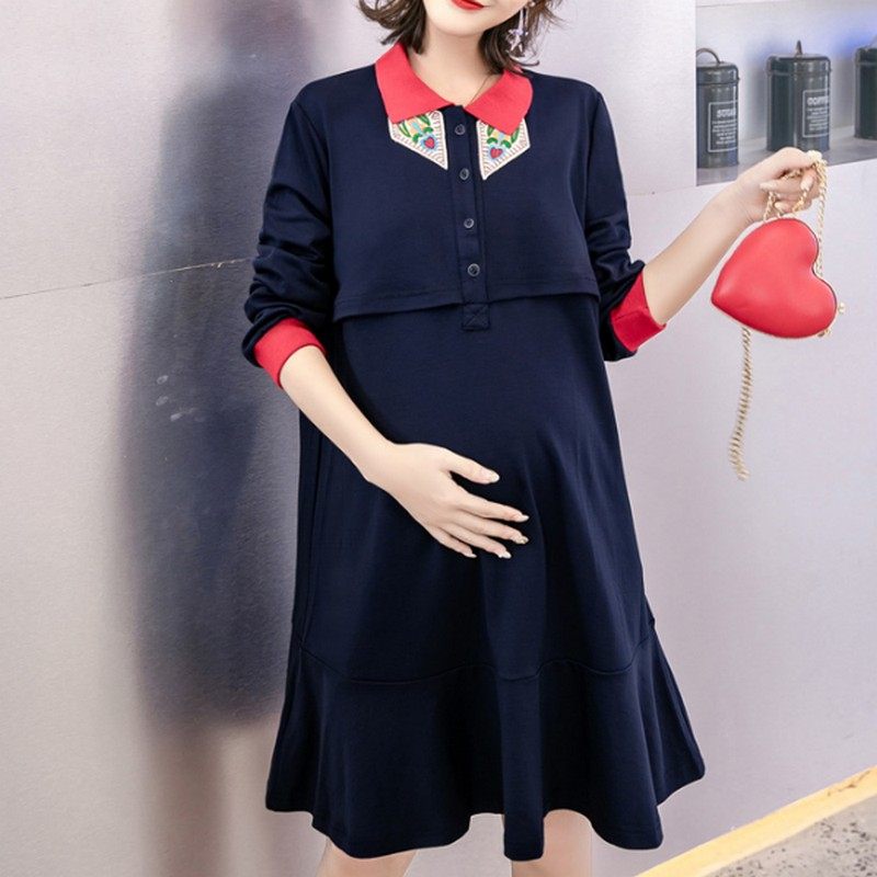 Autumn Breast-feeding Maternity Dresses Embroidery Pregnancy Dress Casual Pregnant Nursing Clothes for Women
