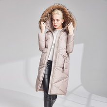 High quality 90% white duck down women's jacket coat coated long down jacket 2019New winter warm hooded women's down robes XL цены онлайн