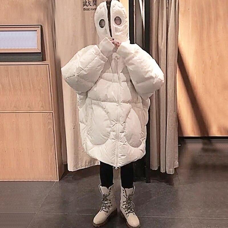 Plus Größe Frauen Jacke Winter Mantel Frauen Lose Parka Gesicht Kappe Kapuze Dicken Parka Weiß Schwarz Lustige Persönlichkeit Alien Mantel XX58 - 4