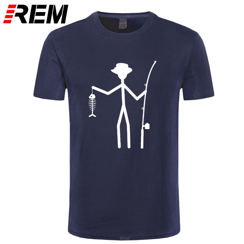 Cool Funny T-Shirt Men High Quality Tees Men's Fisherman Stick Figure Holding Fish Bones Cotton Short Sleeve T Shirts