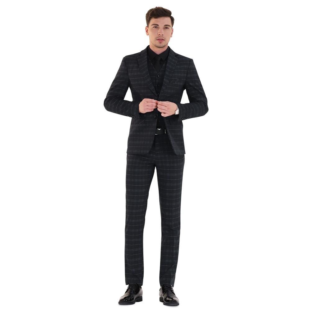 Traje clásico de 3 piezas traje de hombre de negocios fiesta de bodas del novio Casual Blazer Delgado - 6