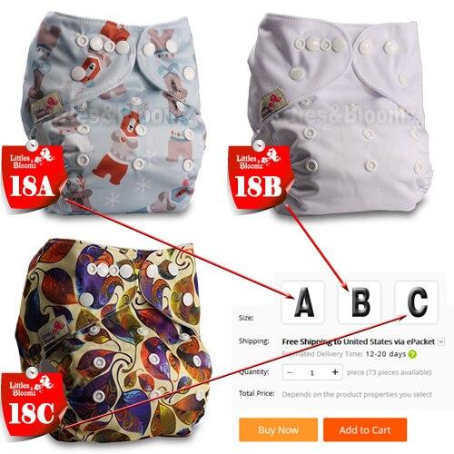 [Littles& Bloomz] Детские Моющиеся Многоразовые Тканевые карманные подгузники, выберите A1/B1/C1 из фото, только подгузники/подгузники(без вставки - Цвет: 18