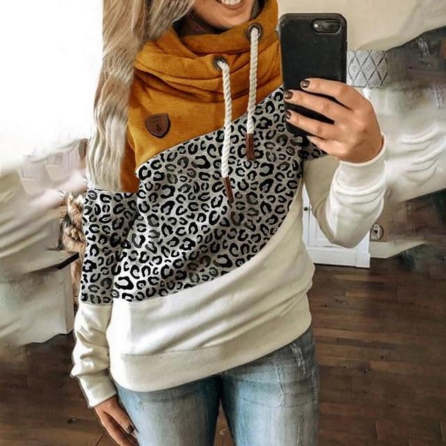 Leopard Hooded Sweatshirt Drawstring pullovers 3