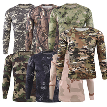 men s quick dry combat t shirt camouflage tactical shirt short sleeve military army t shirt camo outdoor hiking hunting shirts Gym Shirt Men's Spring Autumn Outdoor Camouflage Long Sleeve Tee Men Quick Dry Tight Base Layer Sport Hunting Running T-Shirts