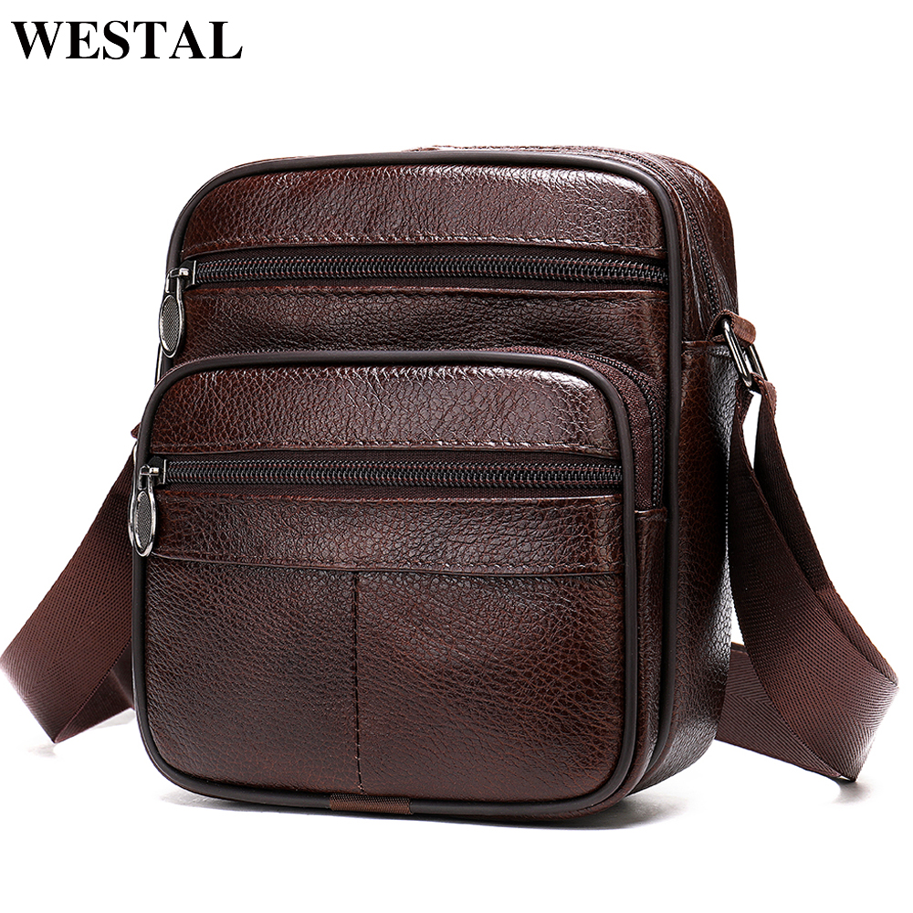 WESTAL Messenger Bag Men's Shoulder Bags Male Genuine Leather Small Crossbody Bags For Men Bag Leather Small Flap Handbags 0505