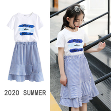 Summer Girls Clothes Fashion Kids Skirt Set Cotton Letter Print T-shirts  Stripe Teenage Princess Outfit Sets Children