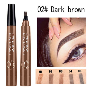 5 Colors Microblading Tattoo Eyebrow Pencil Waterproof Fork Tip 4 Head Fine Sketch Liquid Eyebrow Enhancer Dye Tint Pen TSLM2
