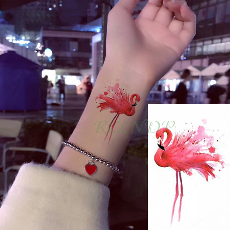 Waterproof Temporary Tattoo Sticker Flamingo Bird Small Tatto Flash Tatoo Fake Tattoos Hand Leg Arm For Kids Men Women Child