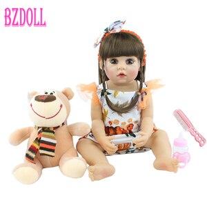 55cm Full Body Silicone Reborn Baby Doll Toy Vinyl Newborn Babies Dress Up Princess Girl Bebe Bonecas Child Birthday Gift(China)