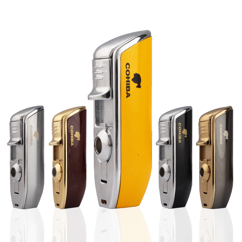 COHIBA 3 Torch Cigar Lighter Metal Snake Mouth Shape Windproof Jet Flame Cigarette Lighters With Cigar Punch Smoking Tool