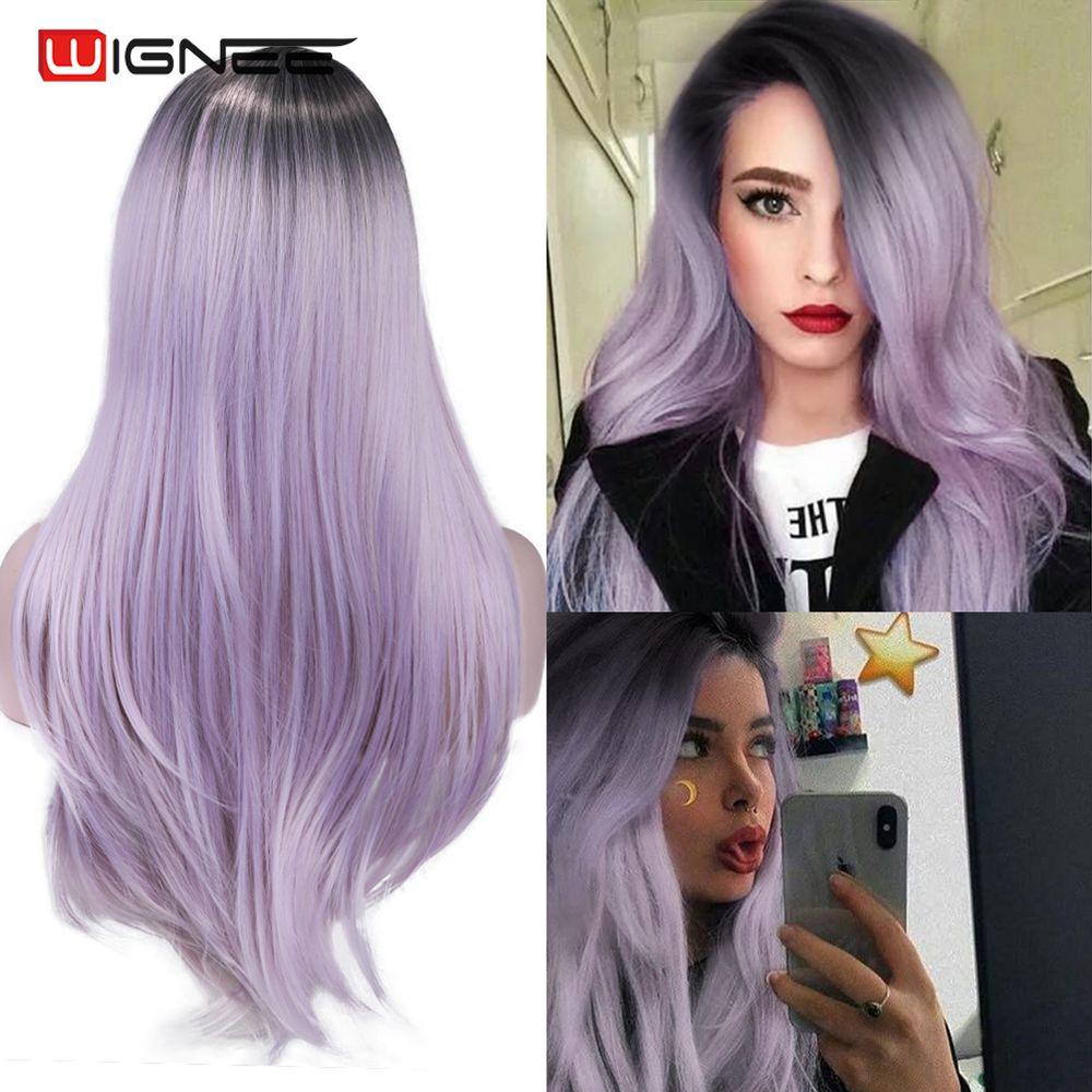 Wignee Long Synthetic Fiber Wigs Ombre Light Purple Partial Division With Oblique Bangs For Women Daily/Cosplay Natural Hair Wig
