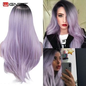 Wignee Long Synthetic Fiber Wigs Ombre Light Purple Partial Division With Oblique Bangs For Women Daily/Cosplay Natural Hair Wig - discount item  52% OFF Synthetic Hair