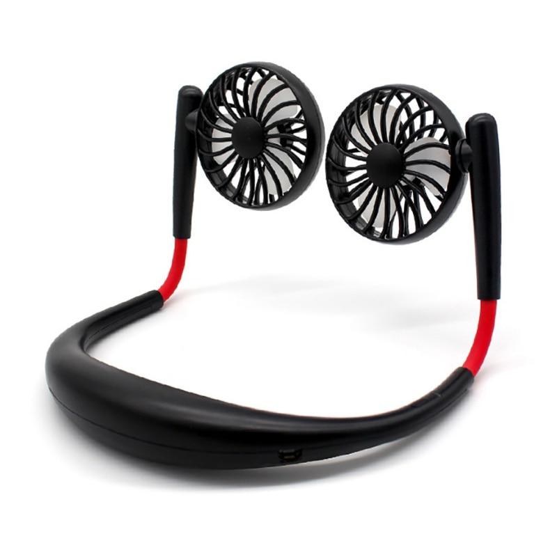 USB Rechargeable Mini USB FanHand Free Personal Fan Neckband Sport Fan Wearable Desktop Fan 3 Speeds  360 Degree Adjustable Fan