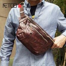 Мужская нагрудная сумка aetoo винтажная вместительная ручной