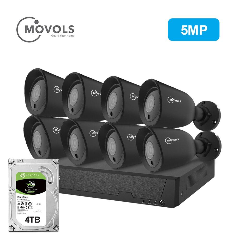 MOVOLS 5MP 8CH HD Sistema de Câmera de Segurança Ao Ar Livre Indoor 8x5 MP 2560*1920 HD Câmera de CCTV vídeo kits de vigilância