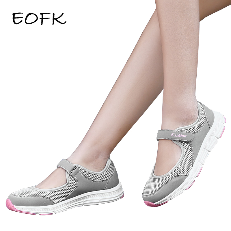 EOFK New Summer Women Flats Shoes Women's Flat Mary Jane Female Ladies Mesh Fabric Casual Comfort Loafers Shoes Woman Buty Damsk