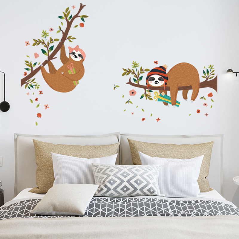Two sloths on the tree Wall Sticker baby kids rooms bedroom decoration Mural Art Decals Animal stickers home decor wallpaper thumbnail