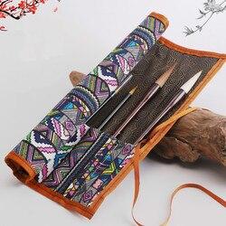 Piórnik szczotki chiński kaligrafia szczotka Rolling kurtyna proste przenośne pędzle do akwareli obsadka do pióra piórnik
