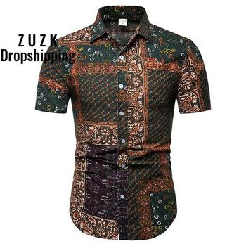 Summer Mens Shirt Mens Ethnic Printed Stand Collar Cotton Linen Stripe Short Sleeve Loose Hawaiian Henley Shirt morden style elastic unique collar design short sleeve cotton blend women s stripe dress
