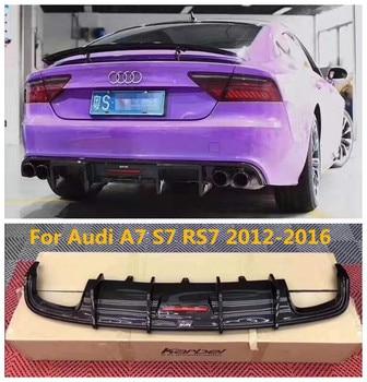 Carbon fiber Car Rear Bumper Spoiler Lip Auto Car Diffuser With lamp For Audi A7 S7 RS7 2012 2013 2014 2015 2016