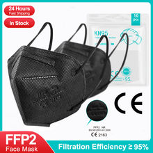 5-100Pieces ffp2 CE Mask fpp2 Approved kn95 Mascarillas Masks Kn95 Certified respiratory ffp2mask Black Mouth Caps Mask 5 Layers