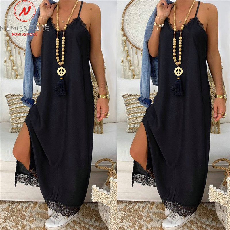 Women Summer Loose Long Dress Sexy Sling V-Neck Sleeveless Ankle-Length Dress Lace Decor Hign Slit Dress Solid Color Dress
