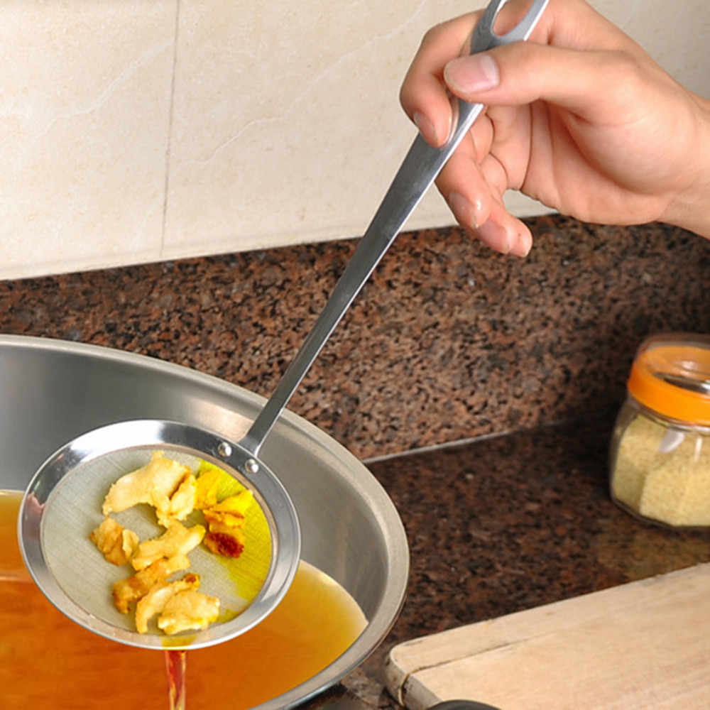 ザルスプーンラウンドネットワークステンレス鋼フィルターオイルフィルターグリッドスクープキッチンオイルスクープオイルフライパン調理アクセサリー # jink