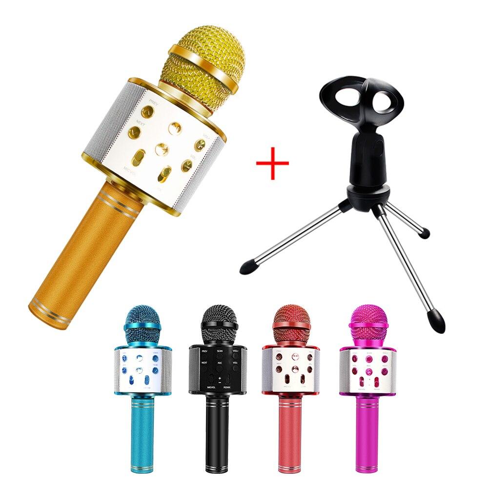 WS858 Microphone Bluetooth Wireless Usb Microphone Wireless Ws858 With Bracket Karaoke Audio Singing Music Home Studio