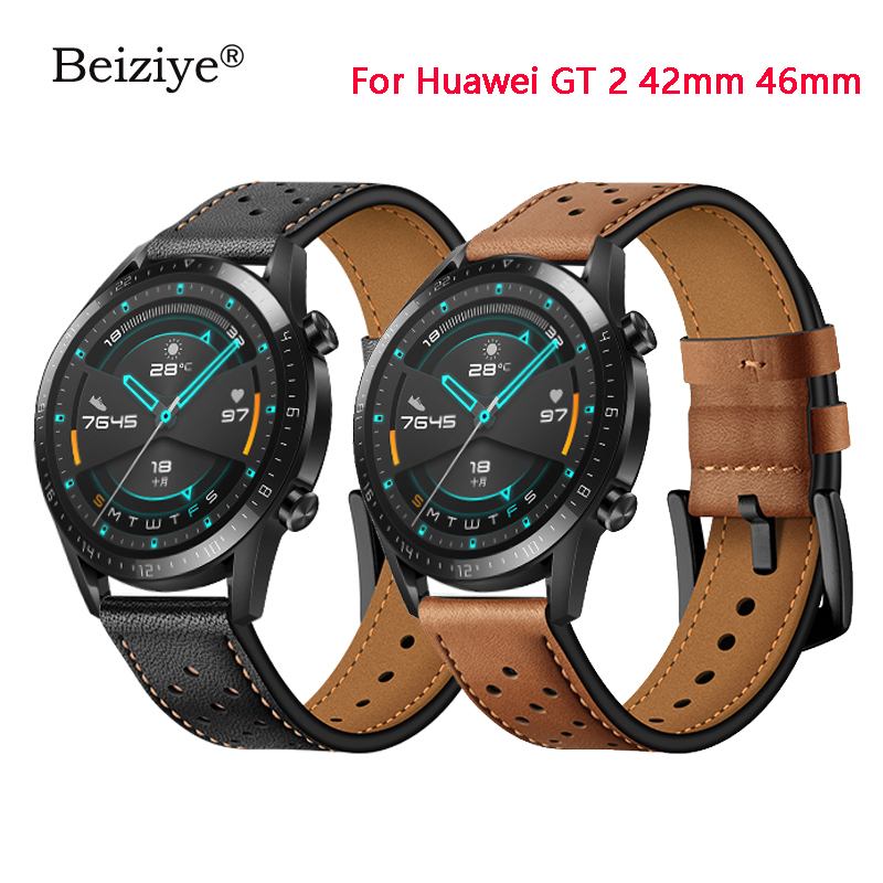 Geniune Leather Wrist Strap Replacement For Huawei Watch GT 2 42mm 46mm Smart Watch Sport Wristband Bracelet Belt Accessories