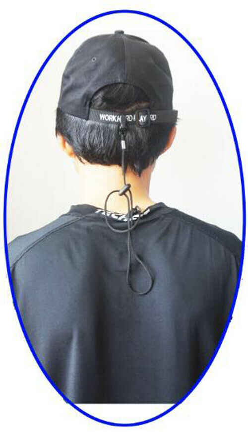 Cap Eyewear Retainer Hat Leash Clip Holder Black Nylon Cord Strap Plastic CFNKH