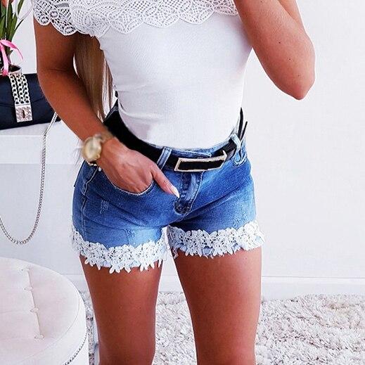Shorts Women Summer Casual Mid Waist Lace Patchwork Ripped Skinny Jeans Women Streetwear Fashion Women Denim Short Jean