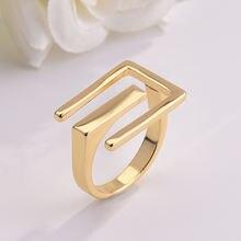 Qmhje геометрическое кольцо золотого цвета металлическое минималистичное