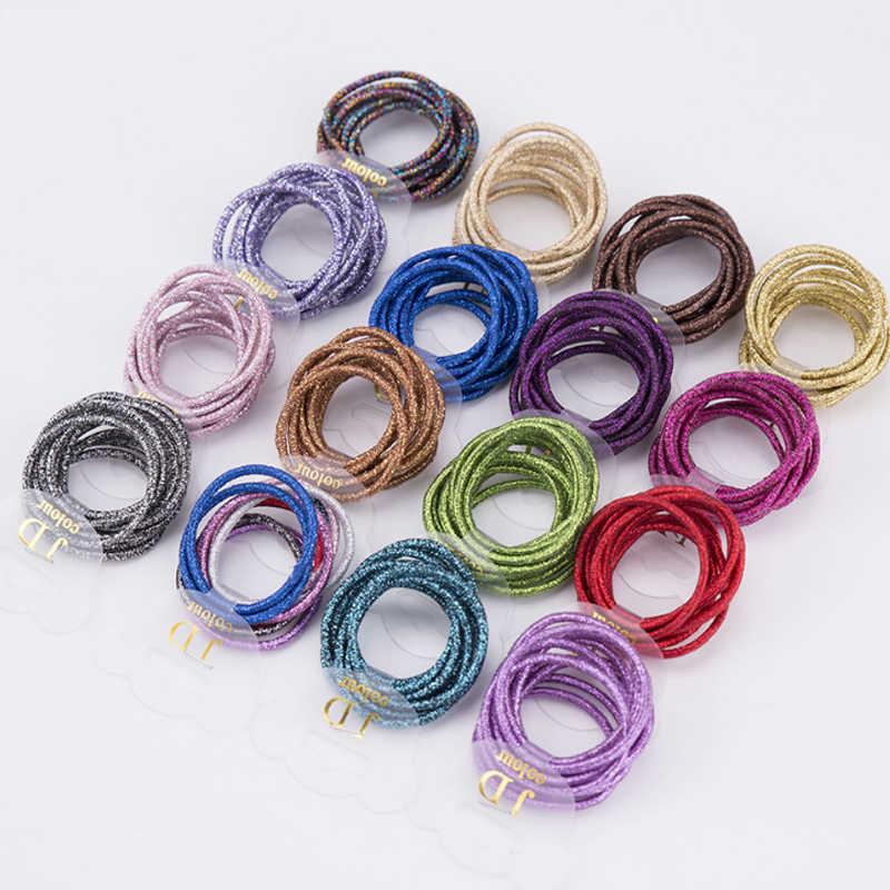 מכירת שיער חבל אלסטי 10 יח'\סט גומייה 20 צבעים חדש חמוד צבעוני צבעים בוהקים בנות שיער להקות אישה שיער אבזרים