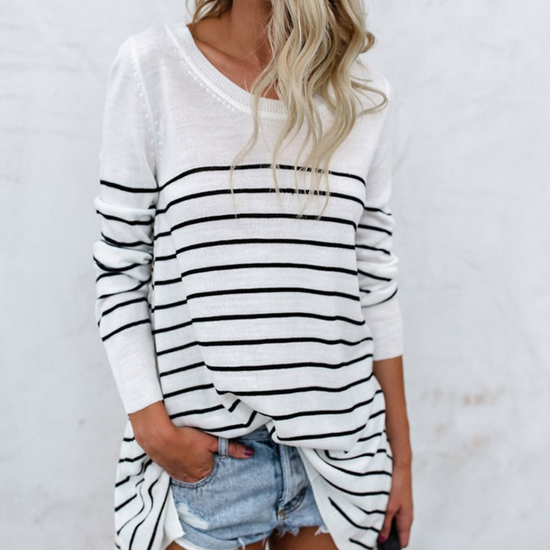 2019 autumn women 39 s T shirt striped stitching long sleeved base T shirt in T Shirts from Women 39 s Clothing
